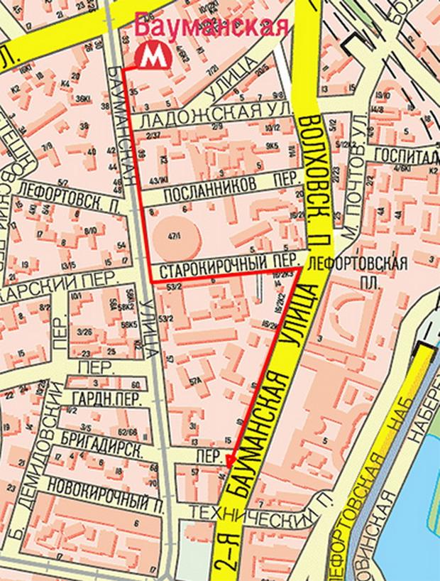 Схема пути от метро до Джи Лайт