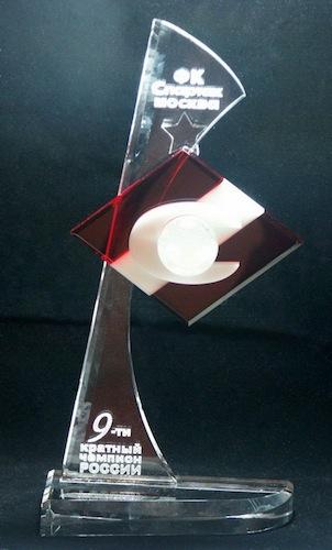 Красивая стеклянная форма - лого Спартак